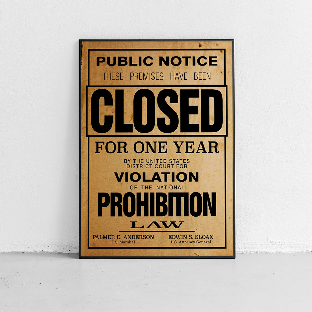 US Government Prohibition Poster Reproduction Home Decor Print Wall Art