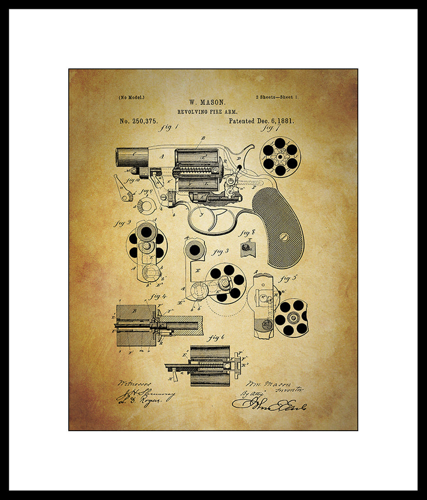 Patent Print Revolver Gun Art Print Home Decor Print Wall Art Poster ...