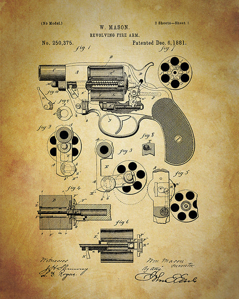 Patent Print Revolver Gun Art Print Home Decor Print Wall Art Poster Vintage Reproduction Hand Gun Man Cave