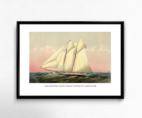 "Vintage Sailboat Art Reproduction - Schooner Yacht ""Magic"" - Wall Art Home Decor Photo Print"