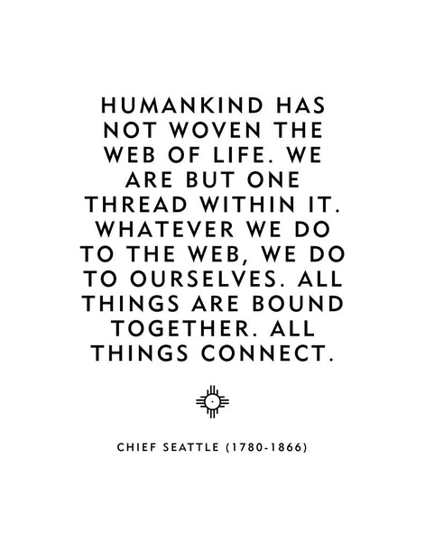 "Native American Decor ""All Things Connect"" Chief Seattle Quote"