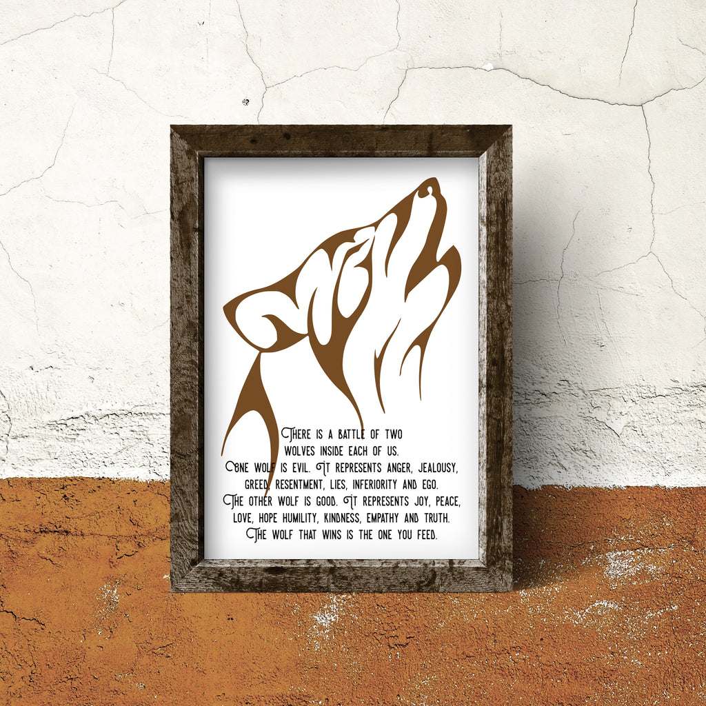 "Native American Quote ""The Wolf You Feed"" Unframed Print"
