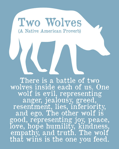 "Native American Quote Poster Tribal Home Decor Wall Art Word Art Photo Print Quote ""The Wolf You Feed"" Silhouette"