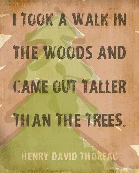 "Outdoor Decor ""I Took A Walk In The Woods"" Walden Inspirational Quote by Thoreau Print Motivational Art"