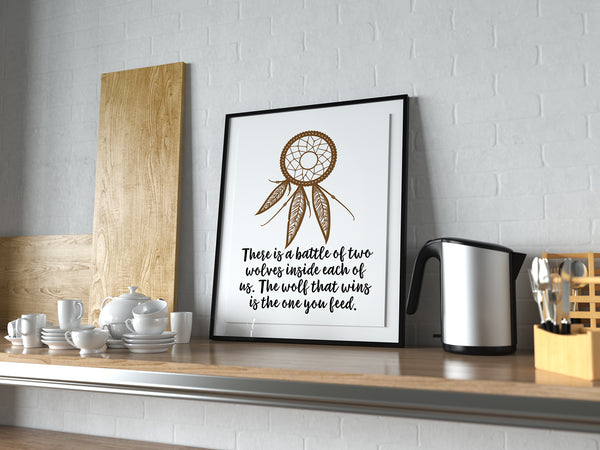 "Native American Tribal Decor Poster or Print ""The Wolf You Feed"" With Dream Catcher"