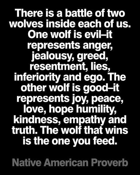 "Native American Quote ""The Wolf You Feed"" Poster or Print"