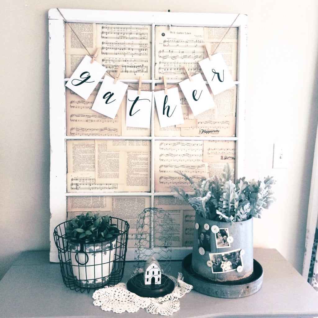 "Instant Art Word Banner ""Gather"" Letters"