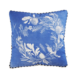 Banksia Wreath Blue 50cm linen cushion black white zigzag trim front view