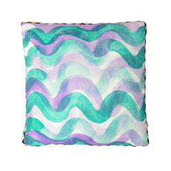 Big Waves Purple Green 50cm linen cushion black white diamond trim front view