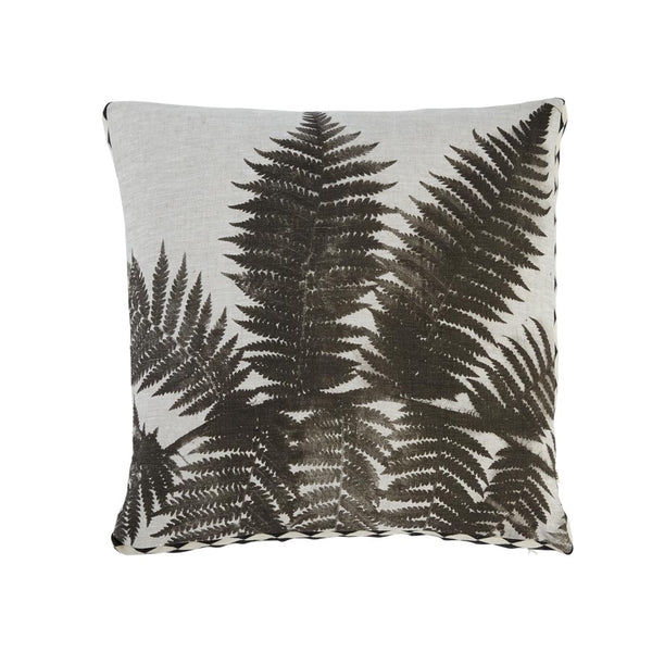 Fern Black 50cm linen cushion black white diamond trim front view