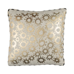 Goldie 40cm linen cushion black white diamond trim front view