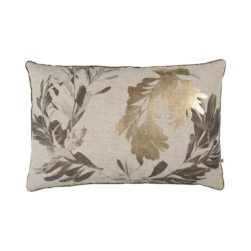 Banksia Black Gold 60x40cm linen cushion black gold piping front view