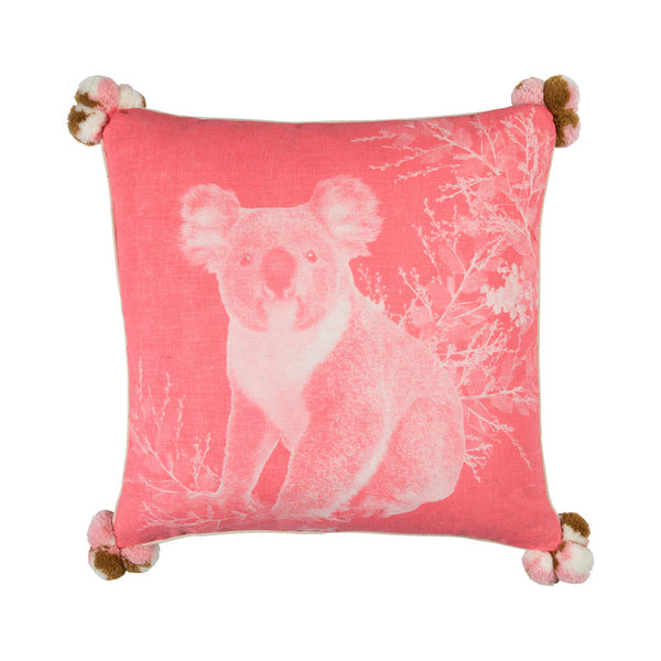 Koala Pink 50cm cushion cream cord piping front view