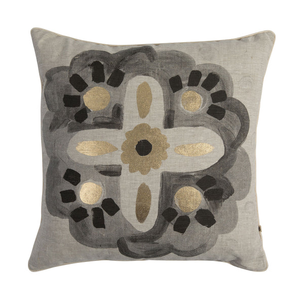 Aegean Black Gold 50cm linen cushion cream cord piping front view