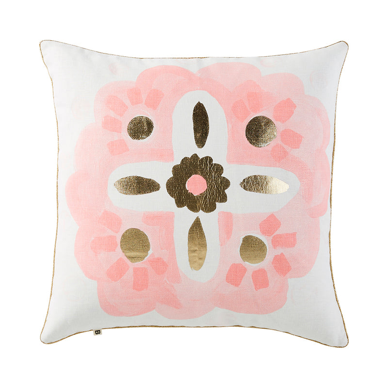 Aegean Pink Gold 50cm linen cushion gold piping front view