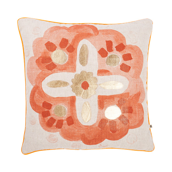 Aegean Rust Gold 50cm linen cushion orange piping front view