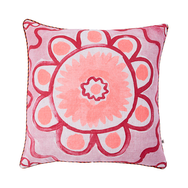 Daisy Pink 50cm linen cushion orange plum piping front view