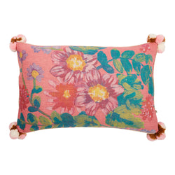 Poppy Pink Multi 60x40cm linen cushion cream cord piping front view