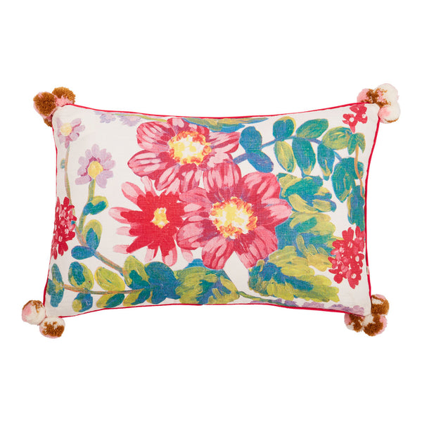 Poppy White Multi 60x40cm linen cushion pink piping front view