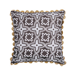Daintree Tile Black 50cm linen cushion gold rickrack trim front view