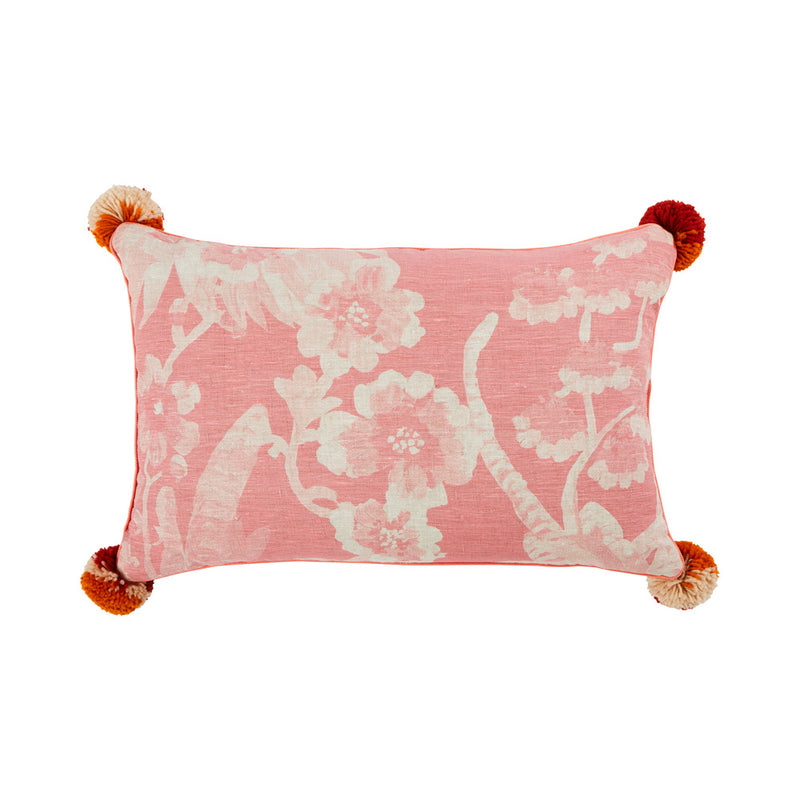 Cattleya Soft Pink 60x40cm linen cushion watermelon piping front view