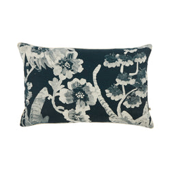 Cattleya Indigo 60x40cm linen cushion cream cord piping front view