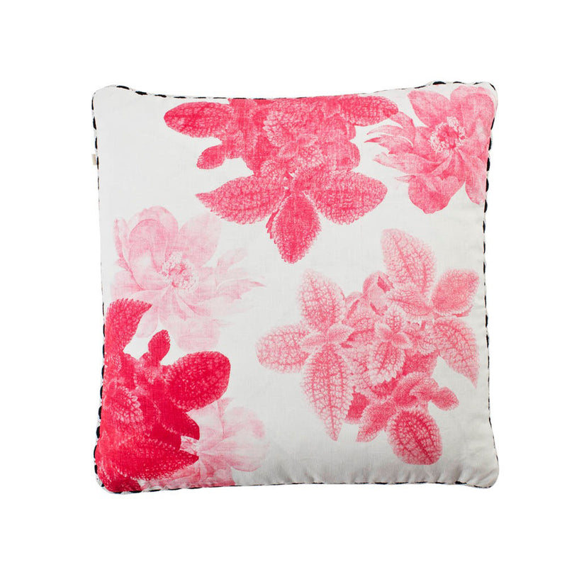 Begonia Leaf Pink 50cm linen cushion black white zigzag trim front view