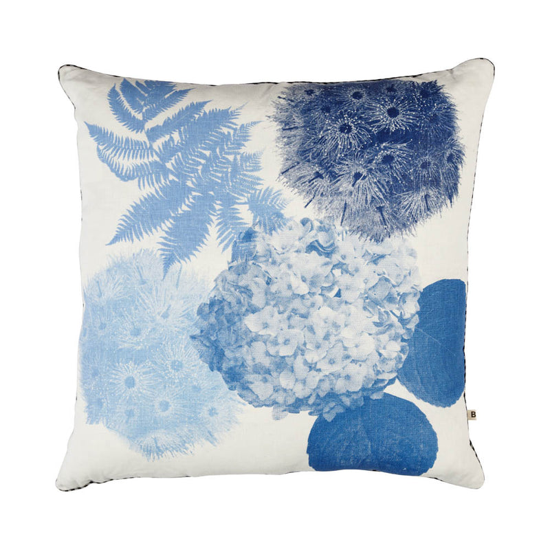 Flowering Gum Blue 60cm linen cushion black silver piping front view