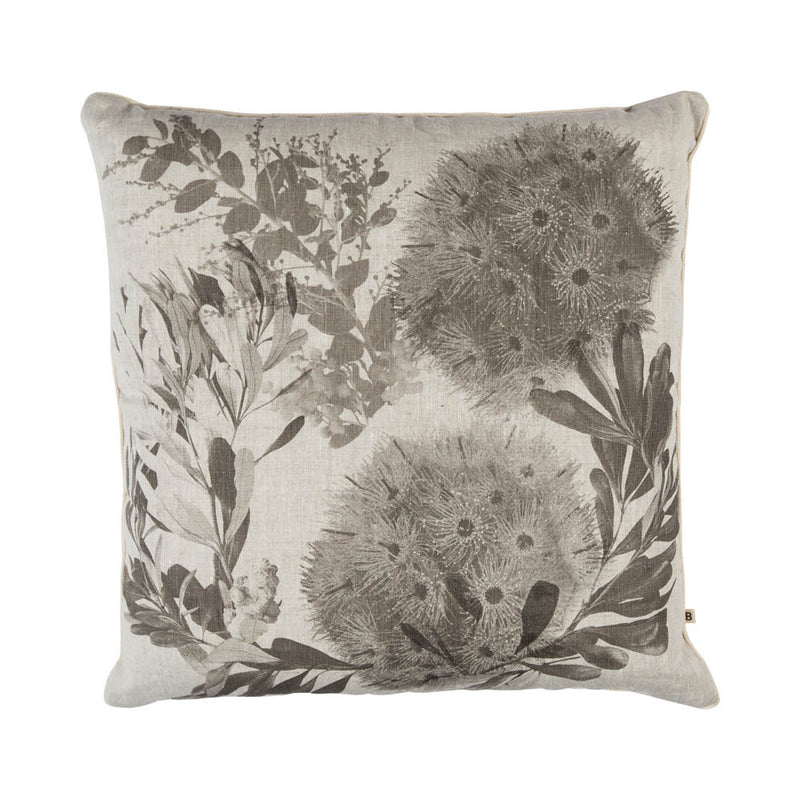 Flowering Gum 60cm linen cushion cream cord front view
