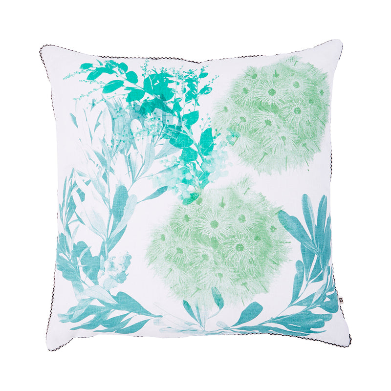 Flowering Gum Green 60cm linen cushion black silver piping front view