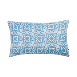 Daintree Tile Blue 75x45cm linen cushion front view