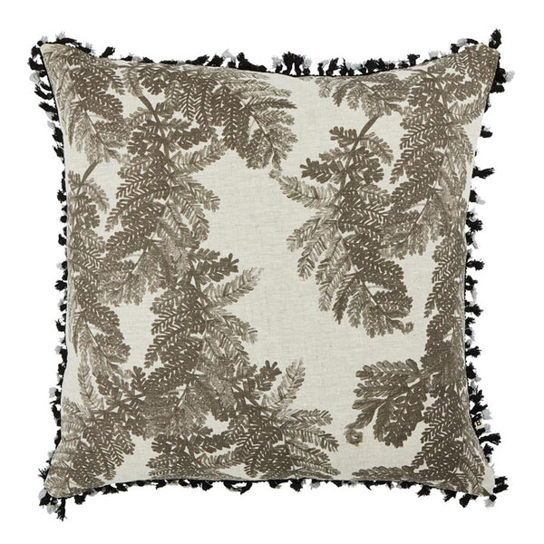 Jacaranda Grey 60cm linen cushion black grey tassel trim front view