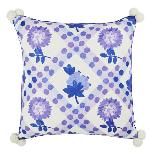 Dahlia Blue 60cm linen cushion blue piping front view