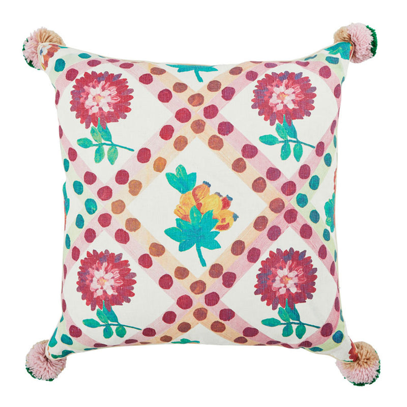 Dahlia Multi 60cm linen cushion cream cord piping front view