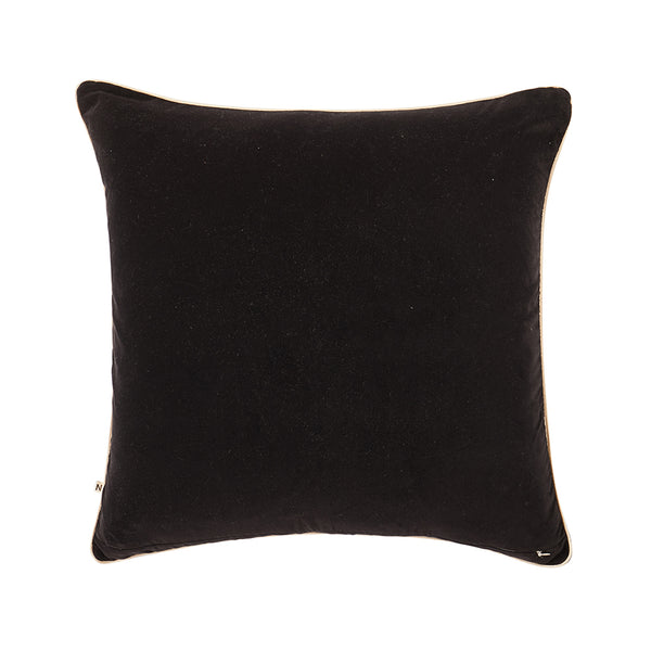 Anomi Black 60cm velvet cushion cream cord piping back view