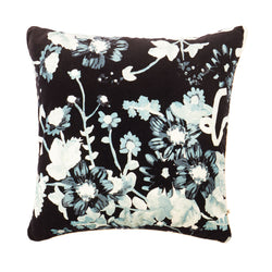 Anomi Black 60cm velvet cushion cream cord piping front view