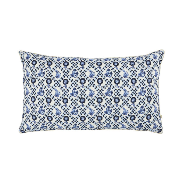 Marigold Blue 75x45cm linen cushion cream cord piping front view
