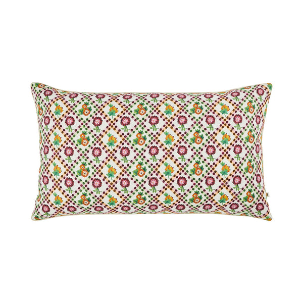 Marigold Multi 75x45cm linen cushion cream cord piping front view