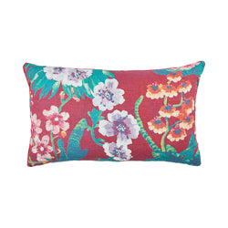 Cattleya Burgundy 75x45cm linen cushion pink piping front view