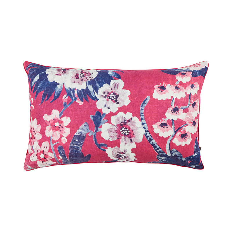 Cattleya Lolly Pink 75x45cm linen cushion pink piping front view