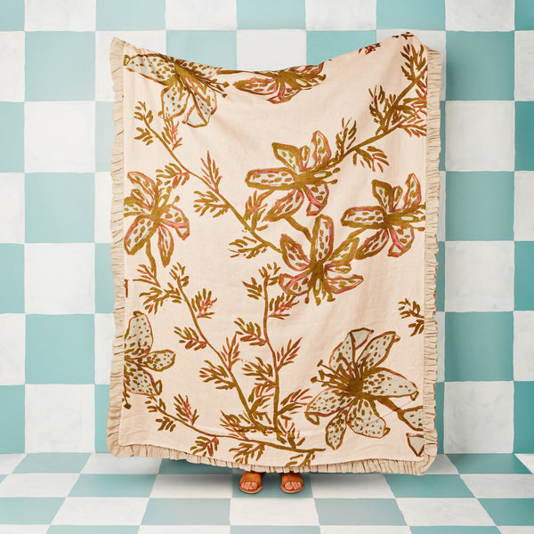 Spotted Tiger Lily Olive Throw
