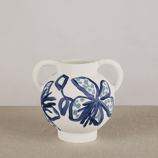 Spotted Tiger Lily Blue Short Vase