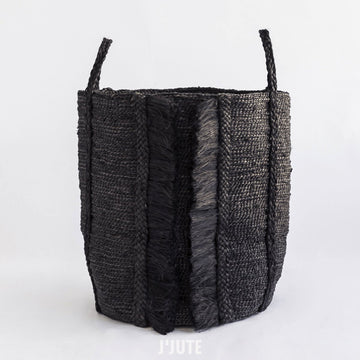 BAZAR TALL FRINGE JUTE BASKET BLACK