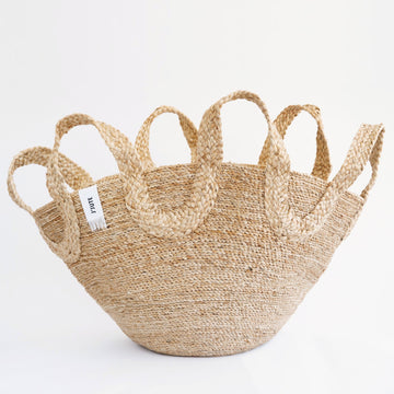 ECOLE MEETING WAVE HANDLE JUTE BASKET