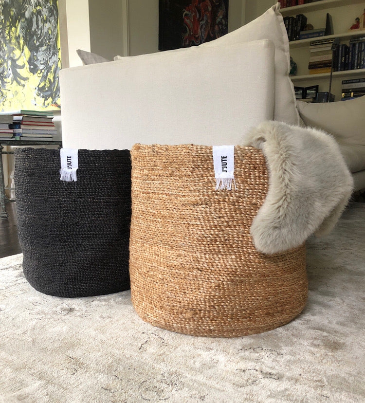 ROUND TALL JUTE BASKET
