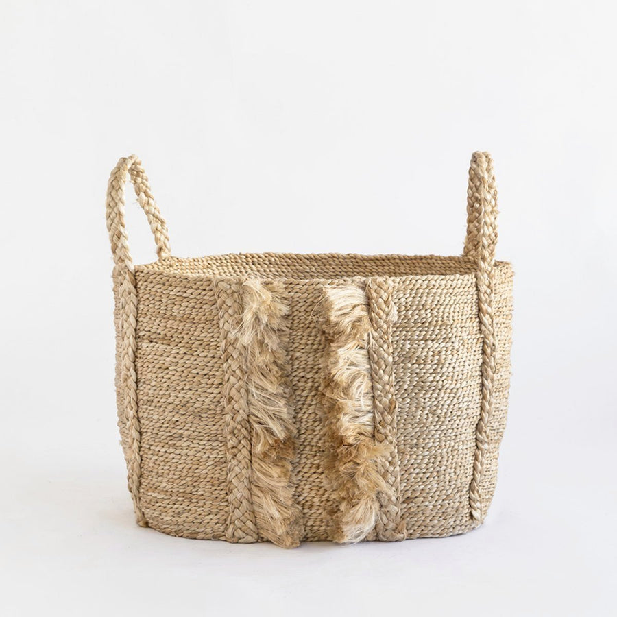 J'JUTE BAZAR MEDIUM WIDE FRINGE JUTE BASKET NATURAL