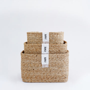 GATEWAY RECTANGULAR SET OF 3 JUTE BASKETS