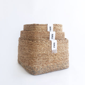 SET OF 3 JUTE BASKETS NATURAL TIDELINE