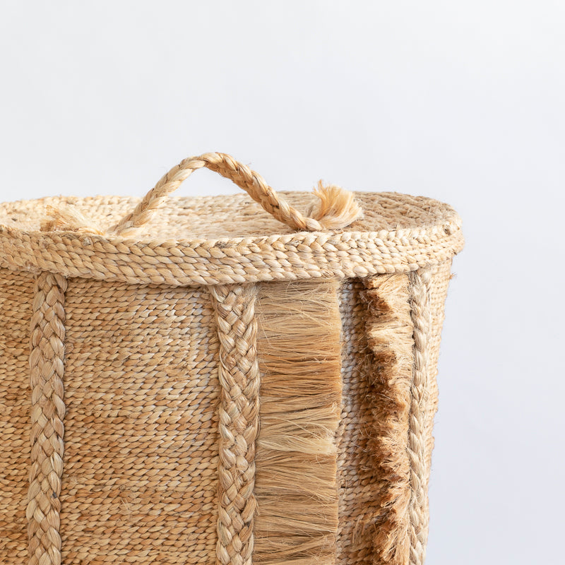 OUTLET - ROUND JUTE BASKET LID TOP - NATURAL