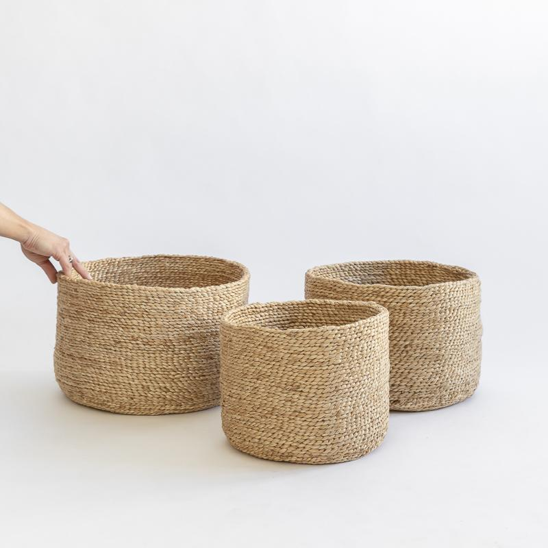 J'Jute EDITION ROUND SET OF 3 JUTE BASKETS